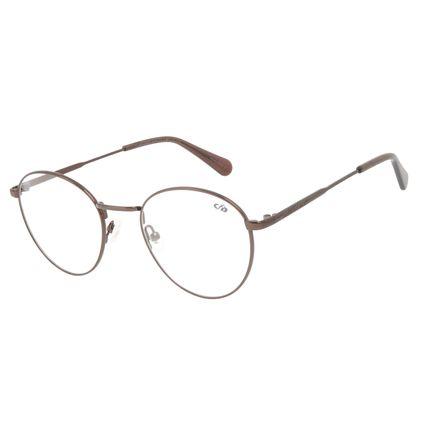 Armação Para Óculos de Grau Unissex Chilli Beans Casual Redondo Marrom Escuro LV.MT.0497-4747