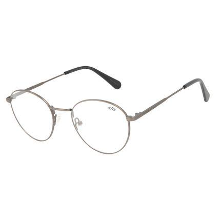 Armação Para Óculos de Grau Unissex Chilli Beans Casual Redondo Cinza Escuro LV.MT.0497-2828