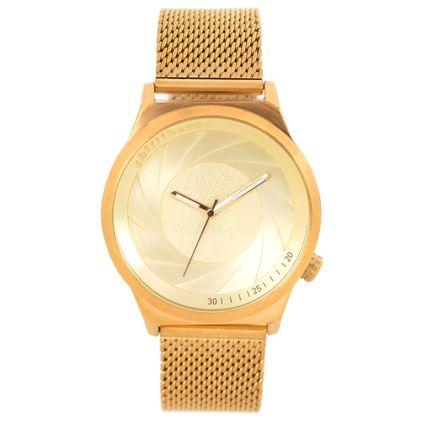 Relógio Analógico Feminino Chilli Beans Fashion Metal Escovado Dourado RE.MT.1109-2121