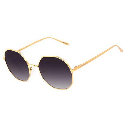 Óculos de Sol Feminino Chilli Beans Redondo Facetado Banhado A Ouro Dourado OC.MT.3184-2021