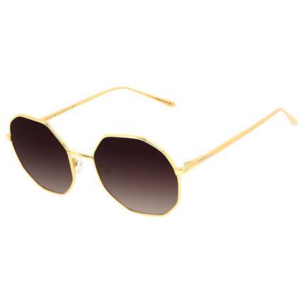 Óculos de Sol Feminino Chilli Beans Redondo Facetado Banhado A Ouro Degradê Marrom OC.MT.3184-5721