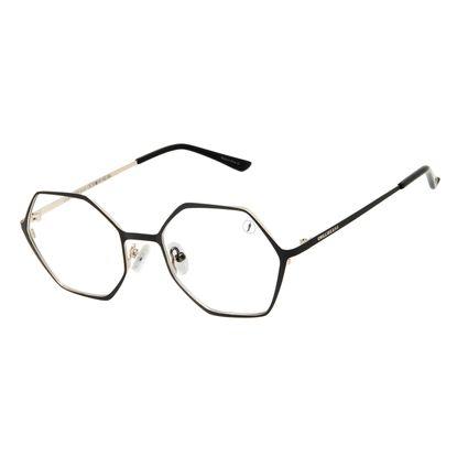 Armação Para Óculos de Grau Unissex Chilli Beans Hexagonal Metal Preto LV.MT.0546-0101